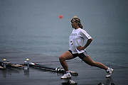 Atlanta, USA, NED W8+ One of the Dutch girls from the eight loosen's up.on the boating dock l at the 1996, Olympic Rowing Regatta at Lake Lanier, Gainsville Georgia,  [Photo Peter Spurrier/Intersport Images]