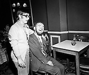 Christy Brown shares a laugh with Maureen Potter. Brown was a writer and painter who, because of cerebral palsy could only type or paint with the toes of his left foot. His best-known book, My Left Foot, was made into an Academy award-winning film, with Daniel Day-Lewis playing Brown. <br /> 16/09/1970