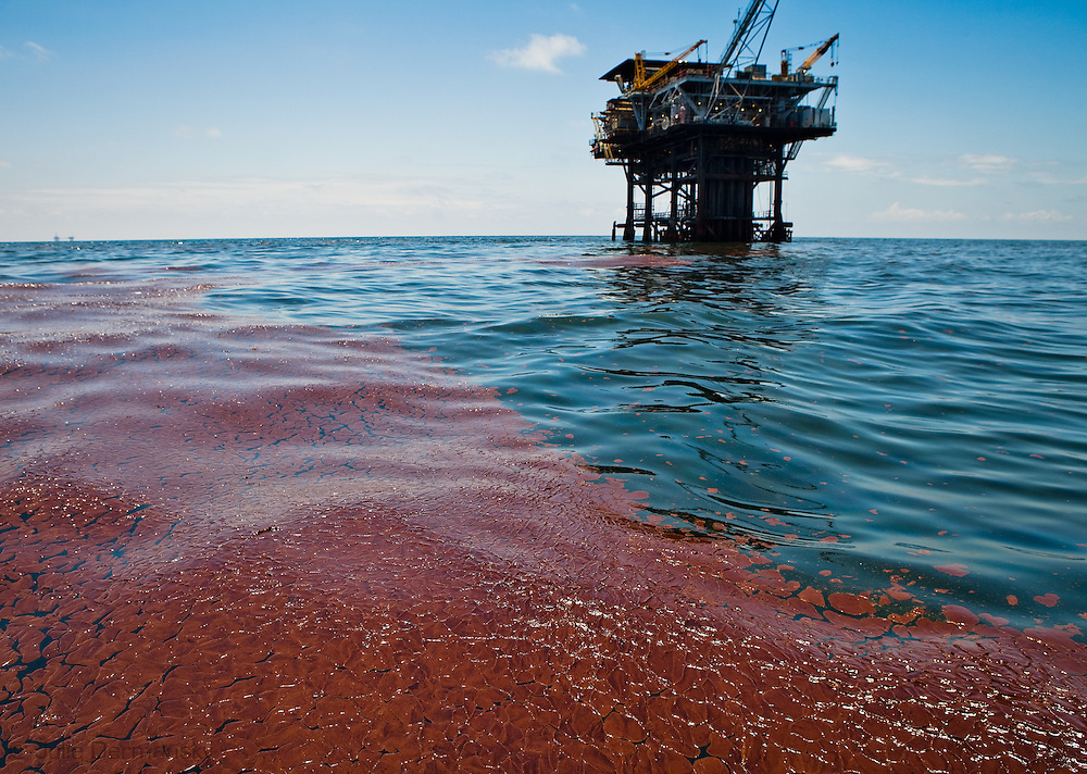 Oil on the surface of the Gulf of Mexico next to rig 313 on the east side of the Mississippi River