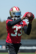 San Francisco 49ers cornerback Rashard Robinson (33) works out during the San Francisco 49ers training camp at Levi's Stadium in Santa Clara, California, on August 25, 2017. (Stan Olszewski/Special to S.F. Examiner)