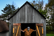 Duke Devlin rests in the shed behind his house in Cochecton, N.Y. on October 7, 2018. Devlin is a site interpreter at the Woodstock Museum in Bethel; he attended the 1969 Woodstock Festival, and never left the area.