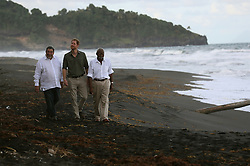 Prince Harry with Prime Minister Ralph Gonsalves (left) and Govenor General Frederick Ballantyne at Colonarie Beach, Saint Vincent and the Grenadines, during the second leg of his Caribbean tour.