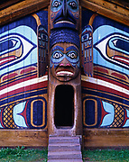 Tlingit Community or Clan House traditionally constructed by Native Civilian Conservation Corps carvers, Totem Bight State Historic Park, Ketchikan, Alaska.