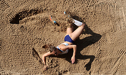Holly Mills in the long jump during the Loughborough International Athletics Meeting at the Paula Radcliffe Stadium, Loughborough.