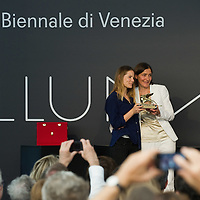 VENICE, ITALY - JUNE 04:  Aino Laberenz (L) widow of Artist Christoph Schlingensief and Susanne Gaensheimer (R) Commissioner German Pavillion receive the Golden Lion for Best National Participation awarded to the German Pavillion at the Official Awards  of the 54th International Art Exhibition on June 4, 2011 in Venice, Italy. This year's Biennale is the 54th edition and will run from June 4th until 27 November.