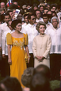 First Lady Nancy Reagan awith First Lady Imeda Marcos on the South Lawn of the White House during a State visit arrival ceremony on  September 16, 1982..Photograph by Dennis Brack bb24