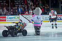 KELOWNA, CANADA - FEBRUARY 17:  Rocky Raccoon, the mascot of the Kelowna Rockets, stands on the ice during the national anthem against the Edmonton Oil Kings on February 17, 2018 at Prospera Place in Kelowna, British Columbia, Canada.  (Photo by Marissa Baecker/Shoot the Breeze)  *** Local Caption ***
