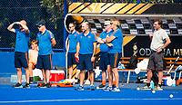 BHUBANESWAR (INDIA) -  Het Nederlands team trainde vanmorgen licht voor de wedstrijd tegen Canada bij het WK Hockey heren.  De begeleiding van Oranje.   . COPYRIGHT  KOEN SUYK