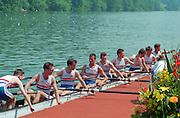 Lucerne, Switzerland. 1995 FISA WC III, Lake Rotsee, Lucerne,<br /> GBR LM8+. <br /> [Mandatory Credit. Peter SPURRIER/Intersport Images]<br /> <br /> Image scanned from Colour Negative