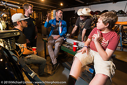 Bryan Fuller and other guests at the pre-party for the Handbuilt Motorcycle Show at Revival Cycles. Austin, TX. April 9, 2015.  Photography ©2015 Michael Lichter.