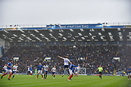 A wet Fratton park general view of the action during the EFL Sky Bet League 1 match between Portsmouth and Wycombe Wanderers at Fratton Park, Portsmouth, England on 22 September 2018.