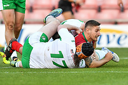 11th November 2018 , Racecourse Ground,  Wrexham, Wales ;  Rugby League World Cup Qualifier,Wales v Ireland ; Gavin Bennion of Wales scores a try<br /> <br /> <br /> Credit:   Craig Thomas/Replay Images