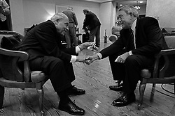 Following a formal interview, journalist Dan Rather chats with Civil Rights Movement legend Rev. Dr. Benjamin Hooks at his home in Memphis, TN on Jan. 12, 2009.