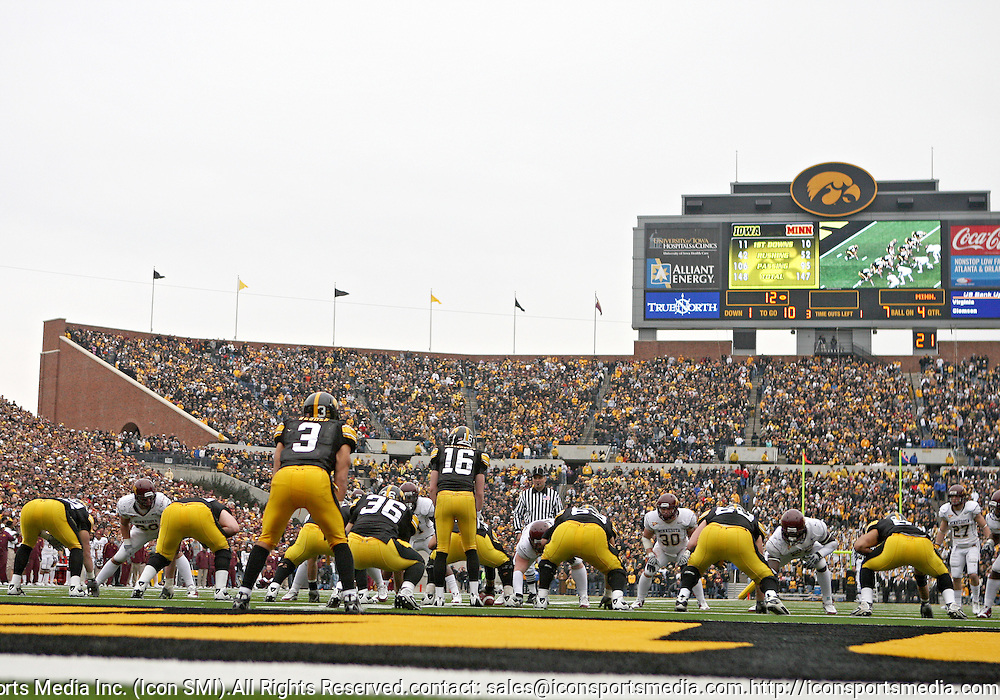 November 21, 2009: Iowa lines up in their own end zone during the second half of the Iowa Hawkeyes 12-0 win over the Minnesota Golden Gophers at Kinnick Stadium in Iowa City, Iowa on November 21, 2009.