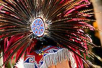 Colourful headdress worn by Indian dancer, San Miguel de Allende, Mexico
