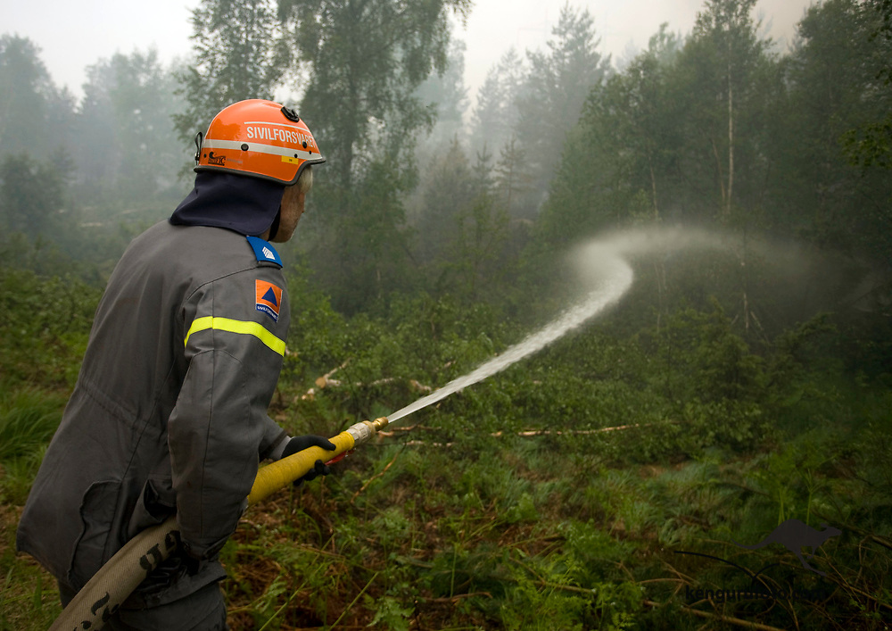FROLAND, AUST-AGDER, 20080613:<br /> Brannmannskaper  prøver å holde skogbrannen under kontroll ved Ytre Lauvrak i Froland fredag. Brannmann med slange.<br /> Foto: Tor Erik Schrøder / SCANPIX