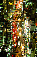 Night view of Osaka (traffic on Route 2), Japan