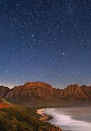 Moonlit view of Kogel Bay in South Africa.