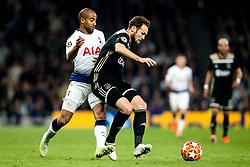 Lucas of Tottenham Hotspur takes on Daley Blind of Ajax - Mandatory by-line: Robbie Stephenson/JMP - 30/04/2019 - FOOTBALL - Tottenham Hotspur Stadium - London, England - Tottenham Hotspur v Ajax - UEFA Champions League Semi-Final 1st Leg