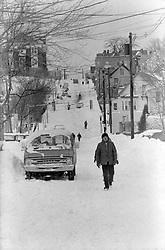 February 5, 2018 - Somerville, Massachusetts, U.S - The Great Blizzard of 1978 lasted two days in Boston on February 5 and 6. The after effects continued for two weeks with a ban on driving, work and school shutdowns and the National Guard on patrol...Residents of School Street in the Winter Hill neighborhood of Somerville, have to walk from home and school for nearly two weeks after the snow storm. (Credit Image: © Kenneth Martin via ZUMA Wire)