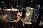 Herren Toiletten auf der oberen Aussichtsplattform des N Seoul Towers. Der N Seoul Tower ist ein der Öffentlichkeit zugänglicher Fernsehturm in der südkoreanischen Hauptstadt Seoul. Der 236,7 Meter hohe Turm steht auf 243 m ü. N.N. des Berges Namsan.<br /> <br /> Gentlemen restrooms at the observation deck of N Seoul Tower in the Korean metropolis.  N Seoul Tower is a communication tower located in Seoul, South Korea. Built in 1969, and opened to the public in 1980, the tower measures 236.7 m (777 ft) in height (from the base) and tops out at 479.7 m (1,574 ft) above sea level.