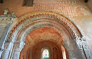 Painted arch of the Romanesque of the Norman Church of St Mary's Kempley Gloucestershire, England, Europe .<br /> <br /> Visit our MEDIEVAL PHOTO COLLECTIONS for more   photos  to download or buy as prints https://funkystock.photoshelter.com/gallery-collection/Medieval-Middle-Ages-Historic-Places-Arcaeological-Sites-Pictures-Images-of/C0000B5ZA54_WD0s