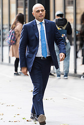 London, October 22 2017. Communities and Local Government Secretary Sajid Javid outside the BBC after appearing on the Andrew Marr show at the BBC New Broadcasting House in London. © Paul Davey