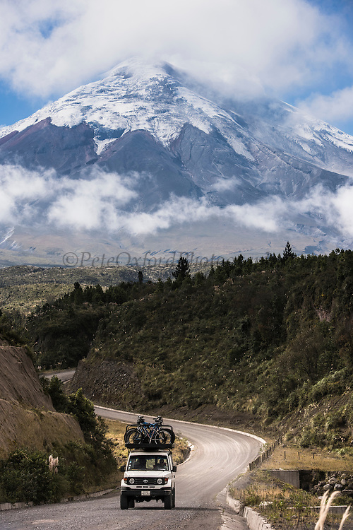 Cotopaxi Volcano currently active<br /> Errupted in mid August 2015 but intermittent explosions continue with the release of gas, steam and ash. Larger erruption expected at any time<br /> 5,897meters high<br /> Highest active volcano in the world<br /> Avenue of the Volcanoes<br /> Andes<br /> ECUADOR, South America