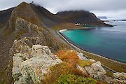 A hamlet on the  coast of Vaeroya, Lofoten Islands, Norway.
