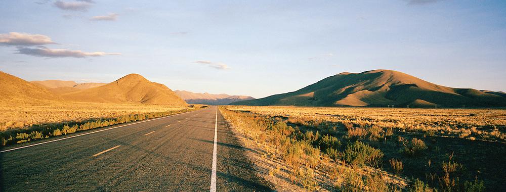 Road cutting through Pampa de Siloli, Bolivia