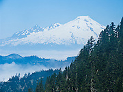 Mount Baker (10,781 feet elevation) rises to the north of Sauk Mountain, which an easy day hike of 4 miles round trip and 1100 feet vertical gain on a graded zig zag trail, near the town of Concrete, on State Route 20, the North Cascades Highway, Washington, USA.