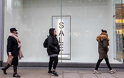 © Licensed to London News Pictures. 17/01/2020. London, UK. Retail gloom continues for shops in London as the Office for National Statistics release bleak retail sales figures for December and Christmas period. Photo credit: Alex Lentati/LNP