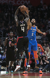 March 8, 2019 - Los Angeles, California, United States of America - JaMychal Green #4 of the Los Angeles Clippers tries to shoot over Markieff Morris #5 of the Oklahoma Thunder during their NBA game on Friday March 8, 2019 at the Staples Center in Los Angeles, California. Clippers defeat Thunder, 118-110.  JAVIER ROJAS/PI (Credit Image: © Prensa Internacional via ZUMA Wire)