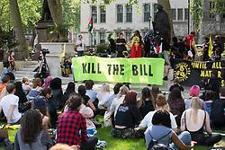 London, UK. 29th May, 2021. Activists from civil rights and other groups take part in a Kill The Bill National Day of Action in protest against the Police, Crime, Sentencing and Courts (PCSC) Bill 2021. The PCSC Bill would grant the police a range of new discretionary powers to shut down protests, including the ability to impose conditions on any protest deemed to be disruptive to the local community, wider stop and search powers and sentences of up to 10 years in prison for damaging memorials.