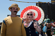 Brooklyn, NY - 18 June 2016. A man and a woman in 1920s seaside costumes.