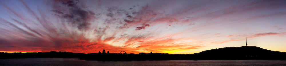 Dramatic sunset over Lake Burley Griffin in Canberra