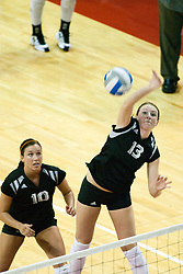 19 AUG 2006  Huskies Jody Hardwick backs up Meagan Schoenrock as she attempts a kill. Northern Illinois Huskies got slammed by Illinois State Redbirds, losing the match 3 games to 1. Game action took place at Redbird Arena on the campus of Illinois State University in Normal Illinois.