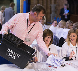 © Licensed to London News Pictures . 05/06/2014 . Newark , Nottinghamshire , UK . The first ballot box to arrive is unloaded for counters . The count for the Newark by-election at Kelham Hall , Newark , this evening (Thursday 5th June 2014) . Photo credit : Joel Goodman/LNP