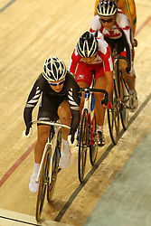 Gemma Dudley of New Zealand during the women's scratch race final held at the velodrome at the Indira Gandhi Sports Complex in New Delhi, India on the 7 October 2010..Photo by:  Ron Gaunt/SPORTZPICS/PHOTOSPORT