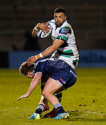 Sale Sharks Rob Du Preez tackles Newcastle Falcons centre Luther Burrell during a Gallagher Premiership Round 12 Rugby Union match, Friday, Mar 05, 2021, in Eccles, United Kingdom. (Steve Flynn/Image of Sport)