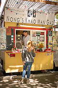 Nong's Khao Man Gai at the SW Alder Food Pod in Portland, Oregon serves mainly one dish of Thai Chicken and Rice.