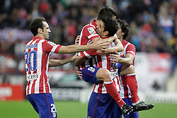 27.10.2013, Estadio Vicente Calderon, Madrid, ESP, Primera Division, Atletico Madrid vs Real Betis, 10. Runde, im Bild Atletico de Madrid's Diego Costa (C) celebrates, goal // Atletico de Madrid's Diego Costa (C) celebrates, goal during the Spanish Primera Division 10th round match between Club Atletico de Madrid and Real Betis at the Estadio Vicente Calderon in Madrid, Spain on 2013/10/28. EXPA Pictures © 2013, PhotoCredit: EXPA/ Alterphotos/ Victor Blanco<br /> <br /> *****ATTENTION - OUT of ESP, SUI*****