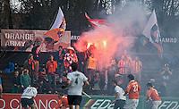 AMSTELVEEN - HOCKEY -  Bloemigans , de supporters van Bloemendaal,  tijdens de EHL hockeywedstrijd  tussen de mannen van Bloemendaal en het Spaanse Club de Campo Madrid (6-1).   COPYRIGHT KOEN SUYK
