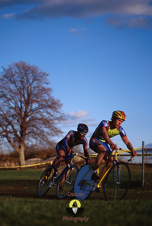Cyclocross racers..Gloucester, Mass..Fall, 2000.Photo by Roger S. Duncan.  ...