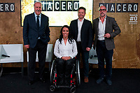 """Spainsh Vicente del Bosque and Teresa Perales during the presentation of """"Dia Cero"""" the new tv show of Moviestar #0 at Telefonica Store in Madrid, Spain. October 20, 2016. (ALTERPHOTOS/Rodrigo Jimenez)"""