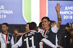 May 19, 2019 - Turin, Turin, Italy - Douglas Costa, Paulo Dybala of Juventus FC celebrates the trophy of Scudetto  2018-2019 at Allianz Stadium, Turin (Credit Image: © Antonio Polia/Pacific Press via ZUMA Wire)