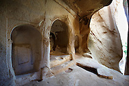 Early Christian rock cave churches in the tuff rock at Zelve, Cappadocia, Turkey .<br /> <br /> If you prefer to buy from our ALAMY PHOTO LIBRARY  Collection visit : https://www.alamy.com/portfolio/paul-williams-funkystock/cappadociaturkey.html (TIP refine search - type which part of Cappadocia into the LOWER search box)<br /> <br /> Visit our TURKEY PHOTO COLLECTIONS for more photos to download or buy as wall art prints https://funkystock.photoshelter.com/gallery-collection/3f-Pictures-of-Turkey-Turkey-Photos-Images-Fotos/C0000U.hJWkZxAbg