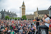 Russell Brand speaking at the People's Assembly Against Austerity 'End Austerity Now' demonstration attended by over 250,000 people on Saturday 20th of June 2015 sending a clear message to the Tory government; demanding an alternative to austerity and to policies that only benefit those at the top. London, UK.
