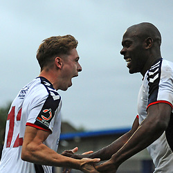 TELFORD COPYRIGHT MIKE SHERIDAN 13/10/2018 - Henry Cowans celebrates with Theo Streete after scoring in the final minute during the Vanarama National League North fixture between AFC Telford United and Chorley