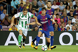 August 20, 2017 - Barcelona, Spain - Joaquín Sánchez, Sergi Roberto and Sergio Busquets during La Liga match between F.C. Barcelona v Alaves, in Barcelona, on September 10, 2016. Photo: Edi Capmany/Urbanandsport/Nurphoto  (Credit Image: © Urbanandsport/NurPhoto via ZUMA Press)